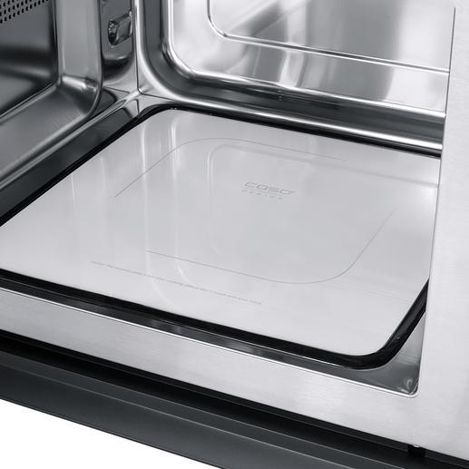 De platte keramische reflecterende bodem verdeelt de microgolven gelijkmatig in de gaarruimte van 25l en is ruimtebesparend.