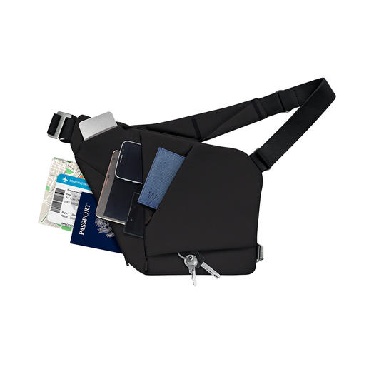 Vier speciaal gesneden verdikte vakken bieden plek aan max. drie mobiele apparaten, portemonnee, bril, sleutels, powerbank,…