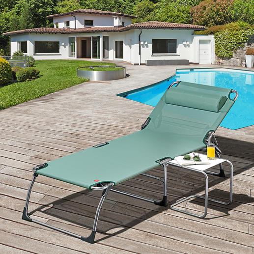 XXL-ligbed met drie poten Extra hoog. Extra lang. Extra breed. XXL-ligbed van aluminium met drie poten, voor extra comfort.