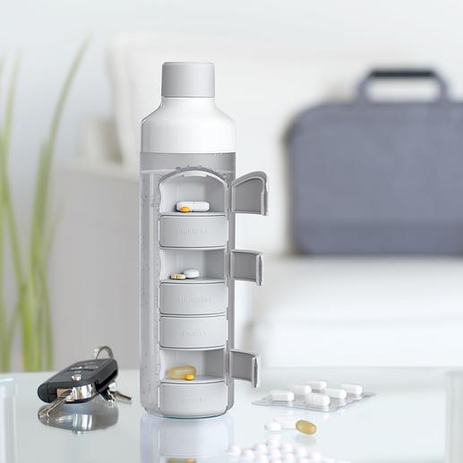 Drinkfles met pillendoos - Altijd uw tabletten én het water om ze mee in te nemen binnen handbereik.