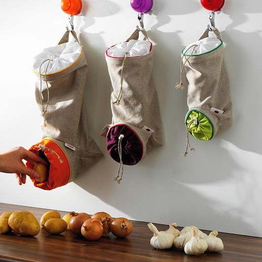 Groentezakken, set van 3 De ideale opslagplaats voor aardappelen, uien, knoflook: beschermd tegen licht, geventileerd en binnen handbereik.