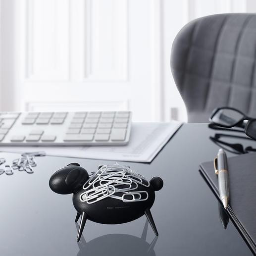 Paperclip-schaap Blikvanger op uw bureau: schaap Blacky trekt paperclips magnetisch aan.