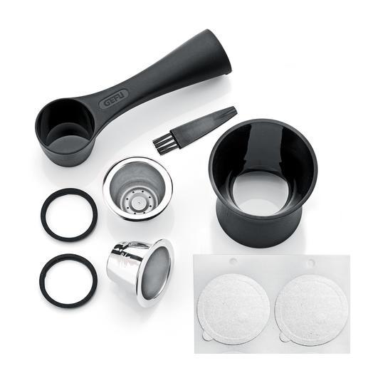 De 8-delige set bevat 2edelstalen cups, koffiemaatlepel met stamper, 80aromastickers, 2extra afsluitringen en een schoonmaakborsteltje.