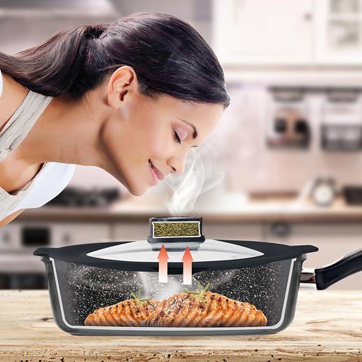 Smell Well pannendeksel Waarschijnlijk de kleinste 'afzuigkap' ter wereld. De geniale STONELINE® Smell Well-deksel absorbeert on aangename kook- en braadgeuren.