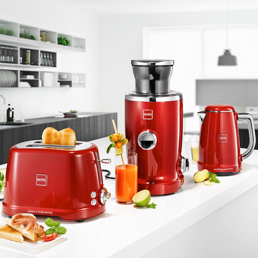 Novisjuicer, waterkoker of toaster IconicKTC1 Bekroonde ontbijtserie in topkwaliteit van Novis, Zwitserland. Iconisch design. Zeer solide uitvoering. Technische perfectie.