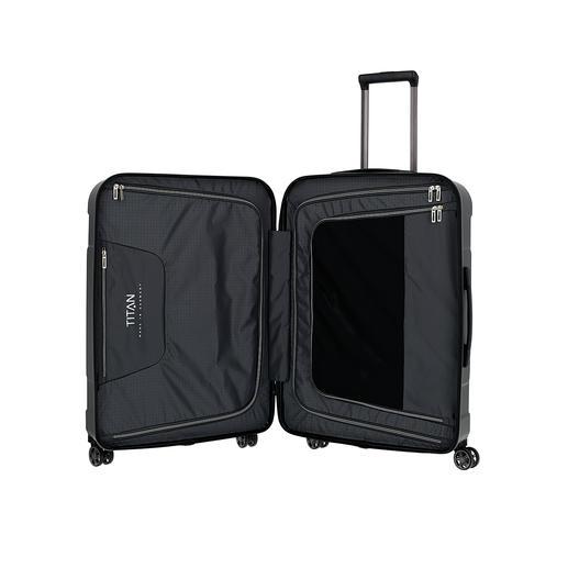 Met praktische indeling: 2gesloten pakwanden met elk 1opgestikt ritsvak, 1ritsvak voor waardevolle zaken, spanbanden.