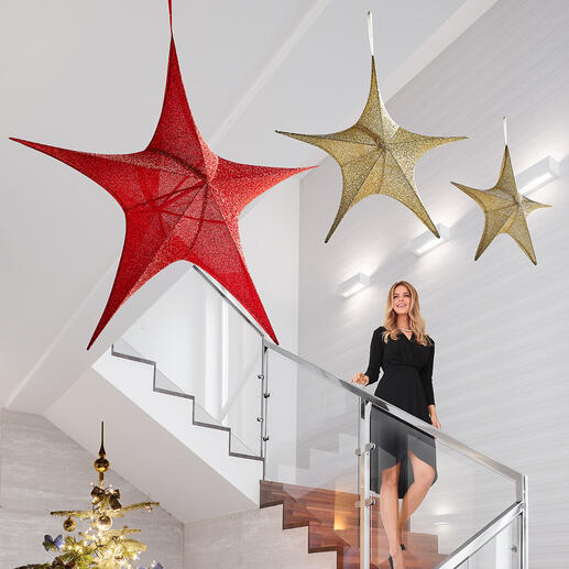 XXL-ster van stof Heel expressief: elegante, met stof beklede glitterster in XXL-formaat.
