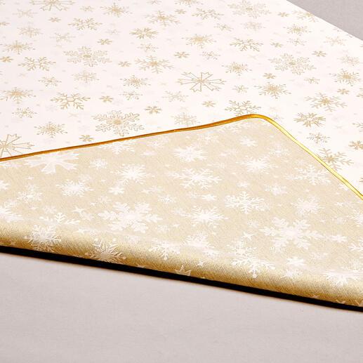 De tafellakens zijn aan beide kanten te gebruiken: de ene kant subtiel, de andere sfeervol glinsterend.