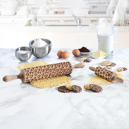 Deegroller met 3D-stempelmotieven,normaal formaat of juniorformaat Schitterend vesierde koekjes en taarten – snel en eenvoudiger dan ooit.