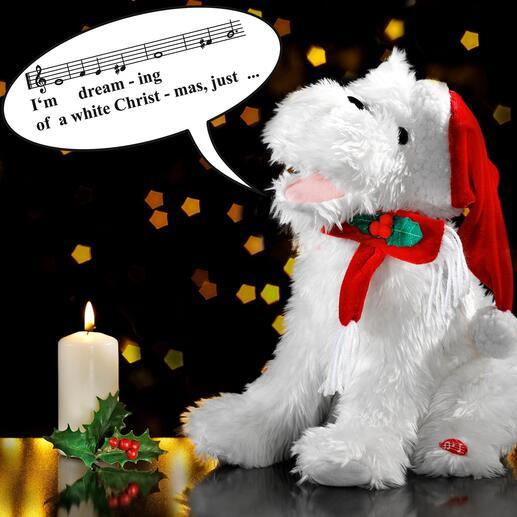 Zingende kersthond Deze betoverende kersthond verovert ieders hart met zijn gezang.