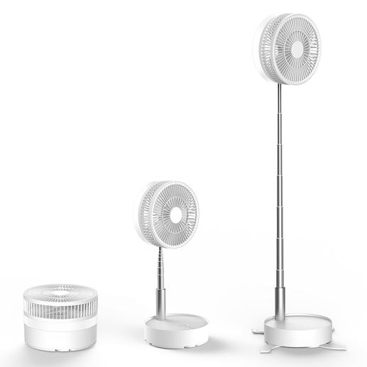 Traploos in hoogte verstelbaar. Te gebruiken als tafelventilator of staande ventilator.