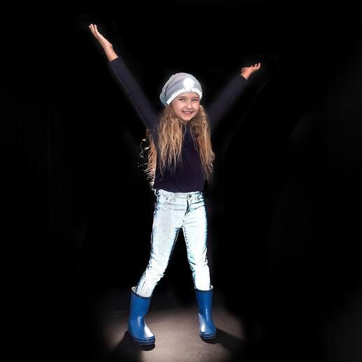 Reflecterende jeans voor kinderen Overdag heel stoer, in het donker goed zichtbaar.