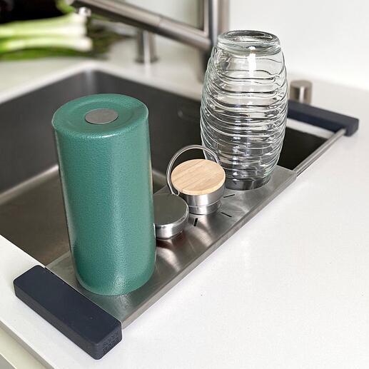 Drip-it gootsteenrek De ideale houder voor vaatdoekjes en flessen. En tegelijkertijd een multifunctionele afdruip- en opbergoplossing voor de gootsteen.