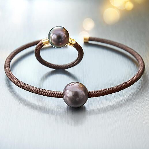 Tahiti-ring of -klemarmband, rozegoud Exclusief, modern design van Tahiti- kweekparels, echt goud, sterlingzilver en nylon.