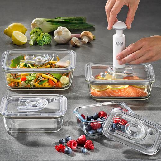 Vacuümbakjes van glas, 4-delige set Houden uw levensmiddelen tot 8 keer langer vers. Geschikt voor vriezer, oven en magnetron, en levenslang hygiënisch.