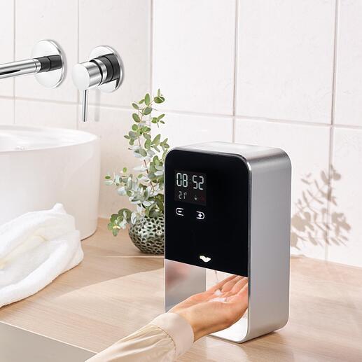 Sensordispenser voor zeep/desinfectiemiddel Veel hygiënischer. Stijlvol ontwerp van aluminium. Met instelbare en contactloze dosering.