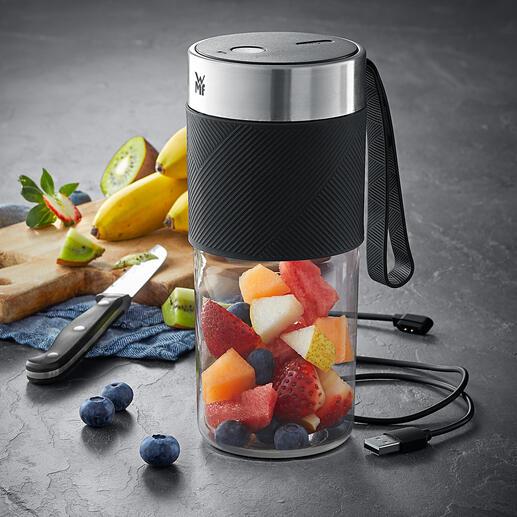 WMF smoothie-mixer to go Draadloze mini-mixer om mee te nemen: perfect voor lunchpauzes, school, een fietstocht, … Van WMF.