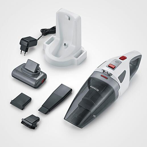 De S'Power® kruimeldief wordt geleverd met: wandhouder/230V-oplaadstation, roterende turboborstel, 13cm-kierenzuigmond, rubberen opzetstuk voor vloeistoffen en borstelopzetstuk voor bijv. toetsenborden en meubels.