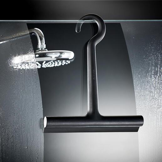Siliconen design-douchewisser De douchewisser met siliconencoating: soft, zwart, stijlvol. Van het Deense designhuis Eva Solo.