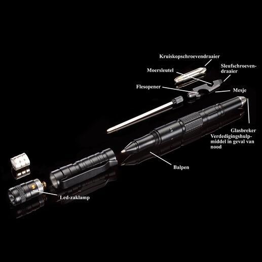 Stevige multifunctionele balpen die tegelijkertijd een verdedigingshulpmiddel in geval van nood is en altijd binnen handbereik is.