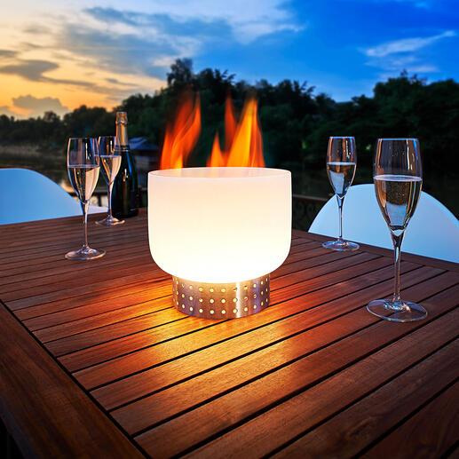 Tafelvuurschaal van glas Vuurschaal van kwartsglas: spectaculair voor tafel & terras.