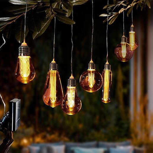 Vintage-lampen op zonne-energie De magie van nostalgische gloeilampen. Nu in een nieuwe uitvoering op zonne-energie. Mooi als decoratie in een boom of op uw terras en balkon.