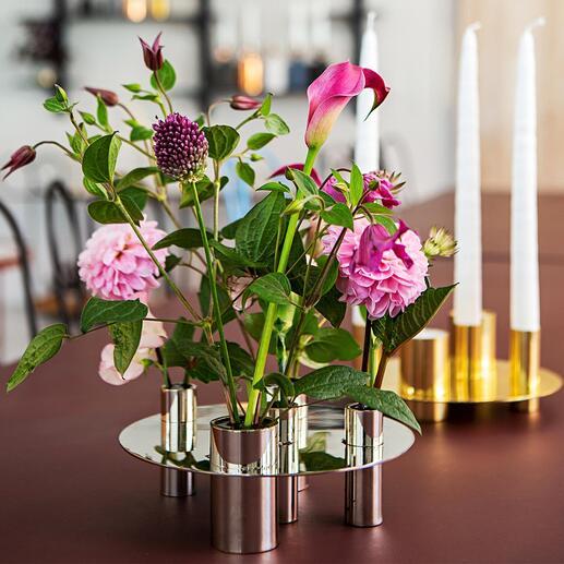 Omkeerbare vaas/kaarsenhouder Stijlvolle houder voor 5 kaarsen of voor bloemen. Draai het woonaccessoire 180° voor veelzijdig gebruik.