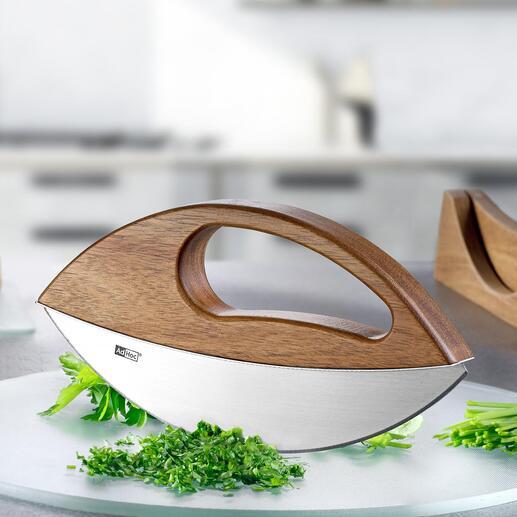 Wiegemes Wave dat met één hand te gebruiken is Uw verse kruiden snijdt u voortaan heel gemakkelijk en met behoud van alle aroma's. Designkwaliteit made in Germany.