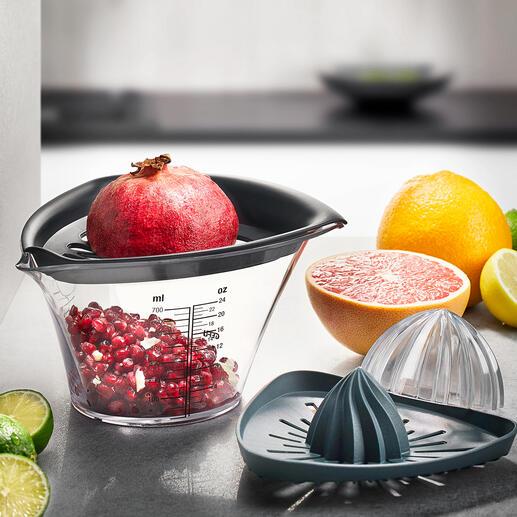 Gefu® granaatappelontpitter en citruspers Granaatappels ontpitten op een schone manier. Niet omslachtig pellen, maar gewoon tikken.