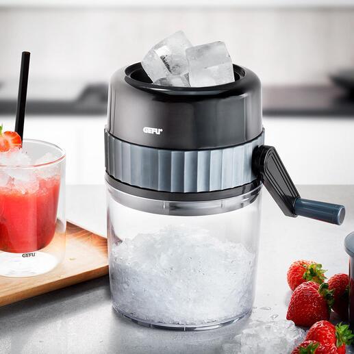 Gefu® handmatige-ice crusher Zelfgemaakt crushed ice – makkelijker en sneller gaat het niet. Zonder stroom, zonder veel moeite. Overal.