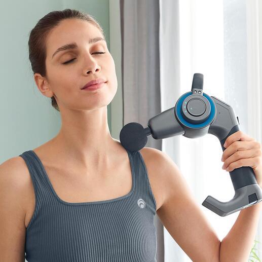 Percussie-massagepistool met zwenkarm Diepwerkende massagetool voor de behandeling van spieren, fasciae en bindweefsel. Nu met 45°-knikscharnier voor moeilijk bereikbare lichaamsdelen.