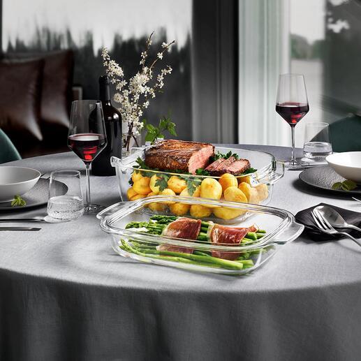 Glazen design-ovenschaal GrandCHEF met deksel Direct vanuit de oven op tafel. Onderscheiden met de German Design Award 2020.