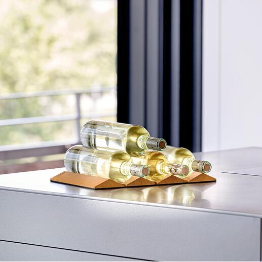 Design-flessenhouder Bewaar uw wijnflessen op stijlvolle wijze. Ruimtebesparend in te klappen. Product- en designkwaliteit made in Germany.
