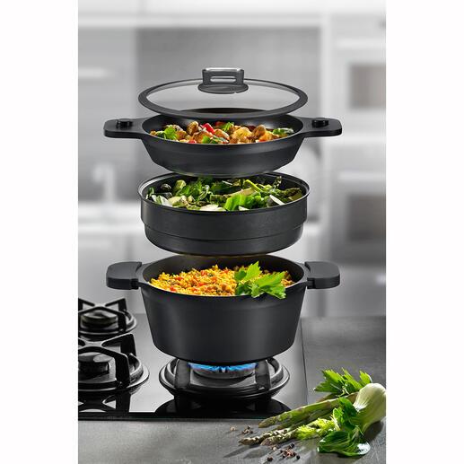 ROHE multi-kookset, 4-delig Braad-, stoof- en kookpan, grillpan, stoompan, ... in één ruimtebesparende set.