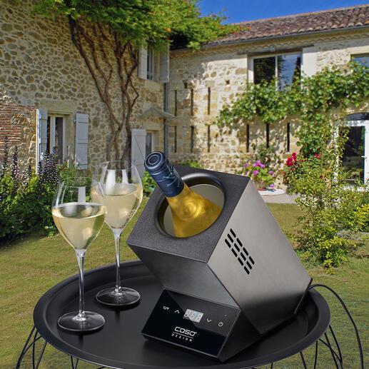 Elektrische design-wijnkoeler Chic design voor het serveren van uw wijn op exact de gewenste drinktemperatuur. Ook ideaal voor sekt- en champagneflessen.