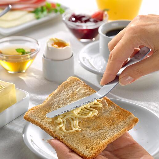 Japans botermes Het botermes uit Japan trekt in een handomdraai smeerbare draden uit een stuk boter. Geen vervelend geschraap en geen gescheurde sneetjes brood.
