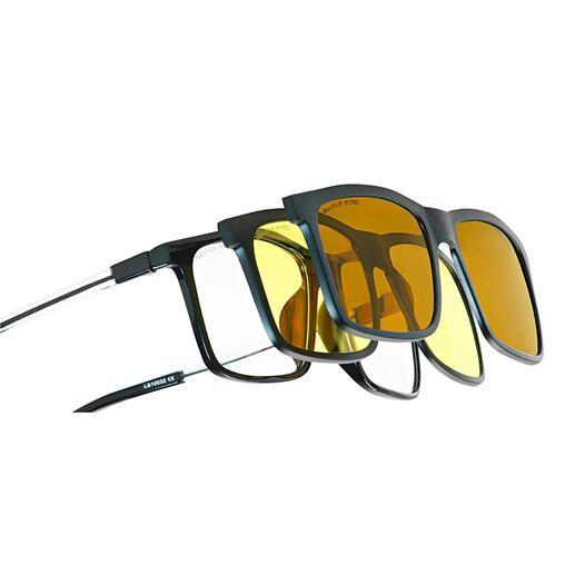 Eagle Eyes® 3-in-1-brillensysteem Met één klik een zonnebril, nachtbril of computerbril. Van Eagle Eyes®, USA.