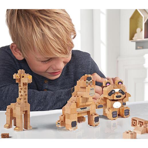 Bouwstenen van massief hout Panda, giraf, gorilla of een eigen creatie: de bouwstenen-sets van beukenhout. Duurzaam speelplezier.