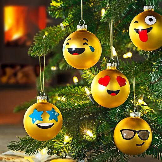 Emoticon kerstballen, 12stuks De wereldwijd begrijpelijke taal van de emoticons, nu ook als grappige kerstballen.