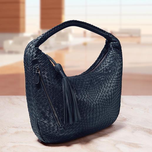 Fontanelli lamsnappa gevlochten tas of portemonnee Handgeweven en met de hand genaaid. Gemaakt van zeer zacht lamsnappaleer.