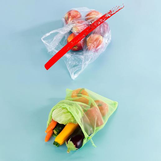 Herbruikbare verszakjes - in plaats van plastic wegwerpzakken.