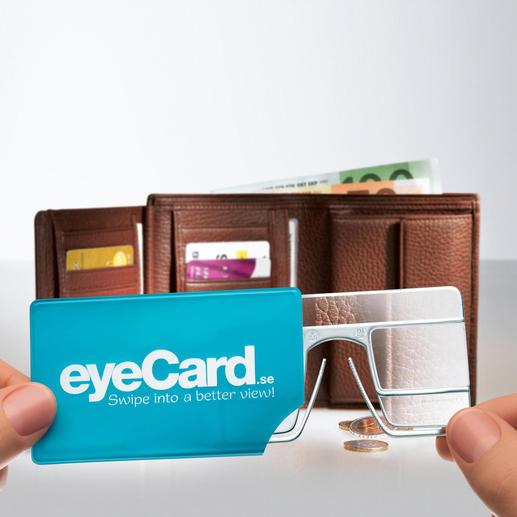In de praktische kunststof insteeketui hebt u uw eyeCard® altijd bij de hand.