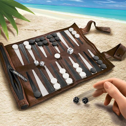 Backgammon voor op reis Stijlvol backgammon spel van zacht veloursleer. Ideaal voor elke reis.