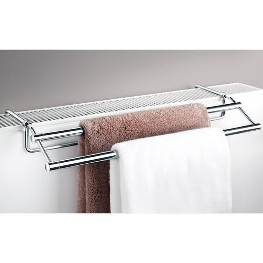 Handdoekdroger voor radiator Eindelijk is er een elegant vormgegeven handdoekdroger die op bijna elke radiator past.