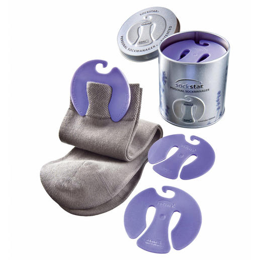 Sokkenhouder 'sockstar®' De slimme houder met frisse lavendellucht houdt uw sokken in de was als paar bij elkaar.