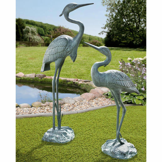 Kopergroene aluminium visreiger, 67 cm of 90 cm Bijna levensgroot en met prachtig patina: het hele jaar een elegante blikvanger. Van weerbestendig aluminium
