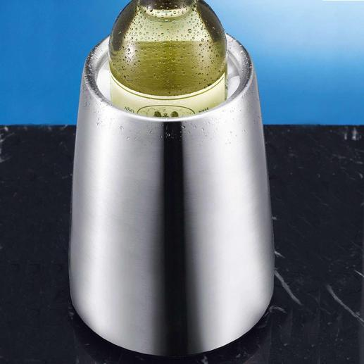 Rvs wijnkoeler Rvs wijnkoeler met Rapid-Ice®-element: isoleert niet alleen, maar koelt ook echt – zonder smeltend ijs.