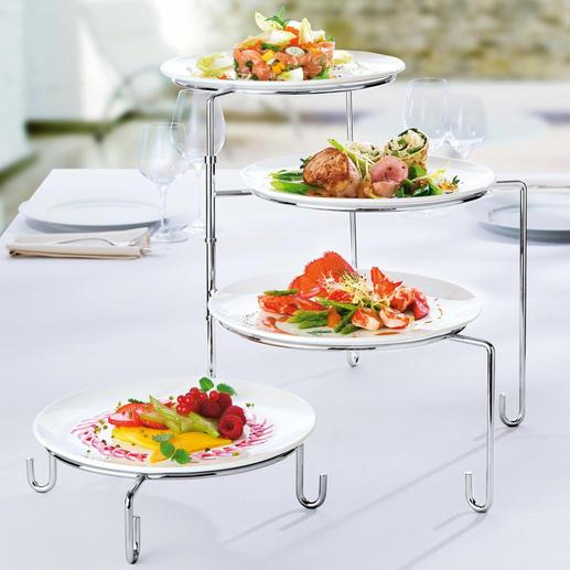 Draaibare etagère/bordenhouder - Blikvanger voor op tafel. Ook praktisch als bordenhouder tijdens de bereiding in de keuken.