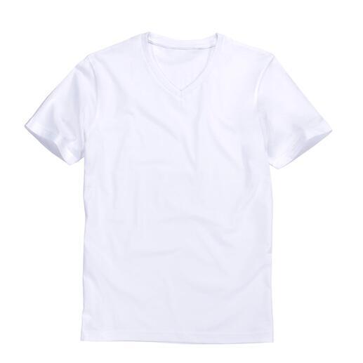 Karl Lagerfeld basic shirt, set van 2 Het ideale basic shirt: puur zwart of wit. Slank belijnd. Van Karl Lagerfeld.