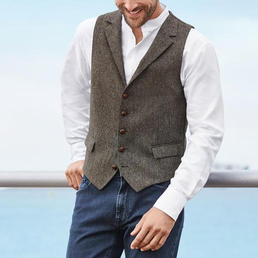 Barutti tweedgilet Perfect om solo te dragen: tweedgilet van zuiver scheerwol – aan beide kanten.